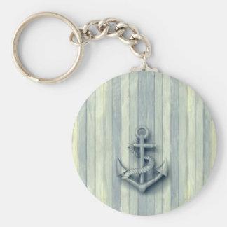 Porte-clés Regard en bois d'ancre chique nautique vintage