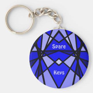 Porte-clés Regard moderne bleu en verre souillé
