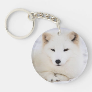 Porte-clés Renard polaire blanc mignon