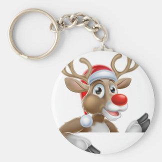 Porte-clés Renne dans le casquette de Père Noël se dirigeant