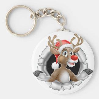 Porte-clés Renne de casquette de Père Noël déchirant par