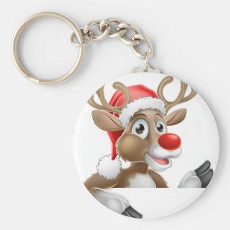Porte-clés Renne de casquette de Père Noël se dirigeant vers