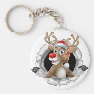 Porte-clés Renne de casquette de Père Noël traversant