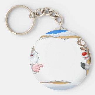 Porte-clés Renne de signe de Noël et arrière - plan de Père