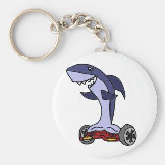 Porte-clés Requin drôle sur Hoverboard rouge