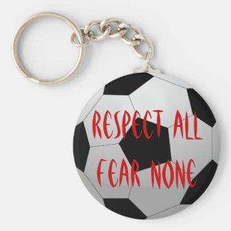 Porte-clés Respectez tous, crainte aucun ballon de football
