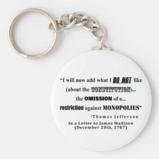 Porte-clés Restriction à la citation de Thomas Jefferson de