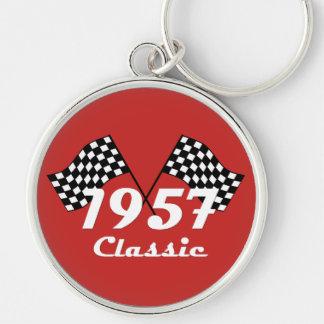 Porte-clés Rétro 1957 drapeaux Checkered noirs et blancs