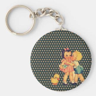 Porte-clés rétros enfants de cru de kitsch de pois de vieille