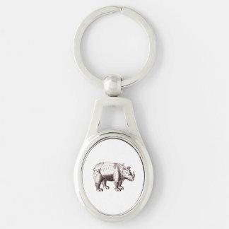 Porte-clés Rhinocéros - dessin de style de la Renaissance