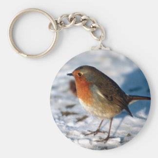 Porte-clés Robin rouge dans le porte - clé de neige