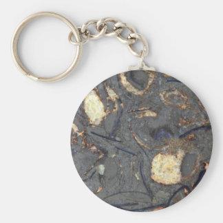 Porte-clés Roche de carbonate avec des fossiles