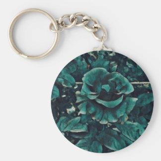 Porte-clés Rose de bleu - style de peinture - cadeau d'art