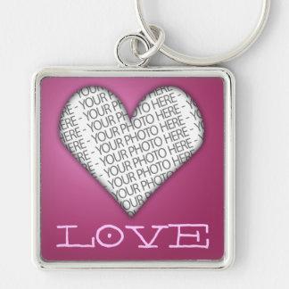 Porte-clés Rose de coeur d'amour de porte - clé votre photo