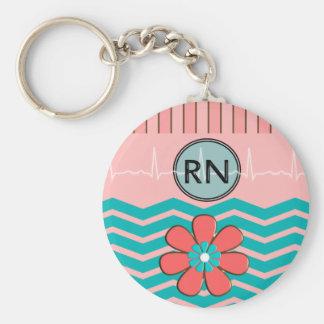 Porte-clés Rose et bleu de motif de RN Chevron