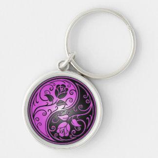 Porte-clés Roses, pourpre et noir de Yin Yang