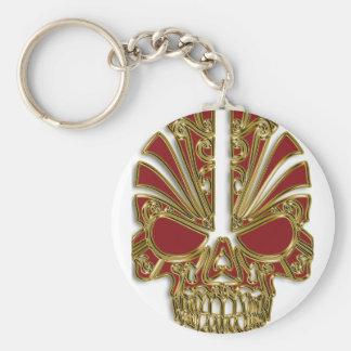 Porte-clés Rouge et crâne de crâne de sucre d'or