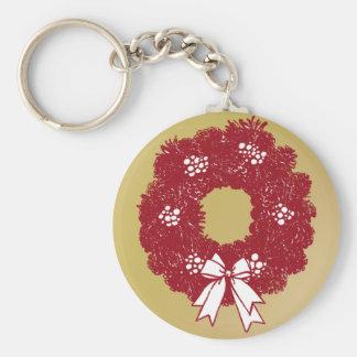 Porte-clés Rouge et or de guirlande de Noël de vacances