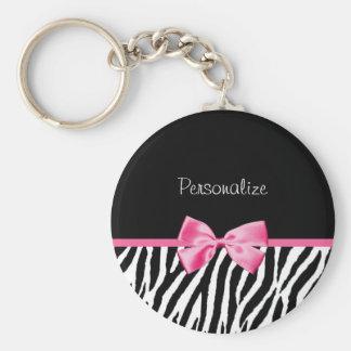 Porte-clés Ruban noir et blanc à la mode de rose d'impression