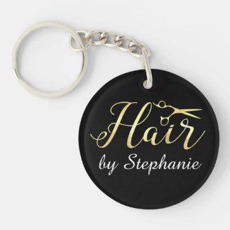 Porte-clés Salon de coiffure d'or de styliste en coiffure de