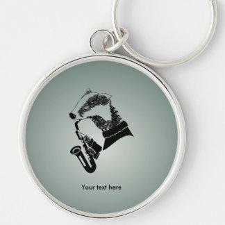 Porte-clés Saxophone noir et blanc de blaireau
