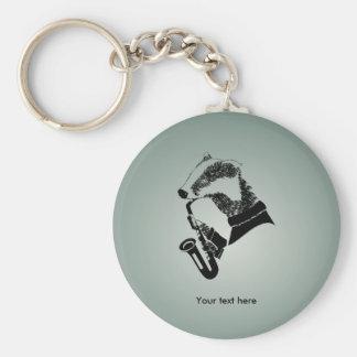 Porte-clés Saxophone noir et blanc drôle de blaireau