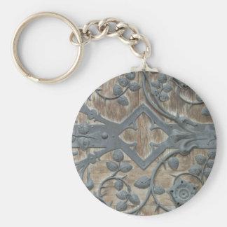 Porte-clés Serrure médiévale de fer sur la porte en bois