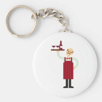 Porte-clés Serveur avec du vin