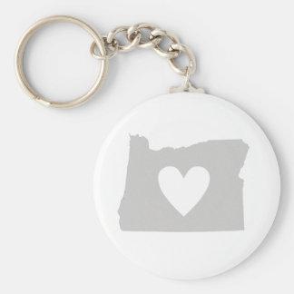 Porte-clés Silhouette d'état de l'Orégon de coeur