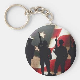 Porte-clés Silhouette militaire patriotique de soldat