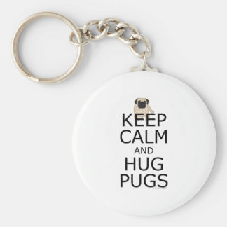 Porte-clés Slogan de carlin : Gardez les carlins calmes