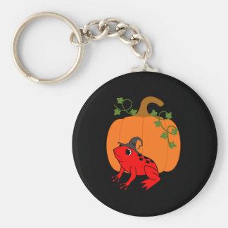 Porte-clés Sorcière rouge de grenouille avec le citrouille de