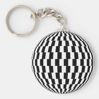 Porte-clés Sphère d'illusion optique de damier