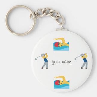 "Porte-clés Sport aquatique Emoji et '' votre nom ici """