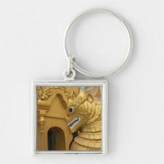 Porte-clés Statue d'or de lion au temple