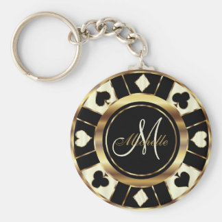 Porte-clés Style de Las Vegas de noir, de crème et d'or de