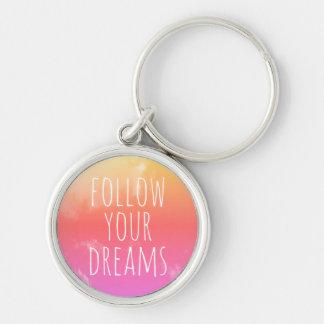 Porte-clés Suivez votre orange inspirée de rose de citation