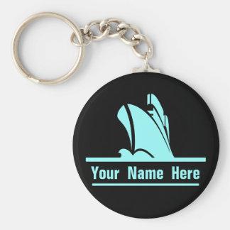Porte-clés Sur le cours noir personnalisé et Aqua de porte -