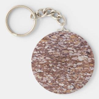 Porte-clés Surface d'un grès rouge avec les geods siliceux