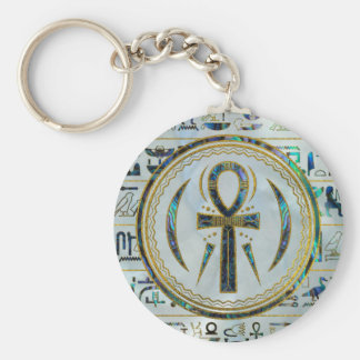 Porte-clés Symbole croisé d'Ankh d'Egyptien de Shell d'ormeau