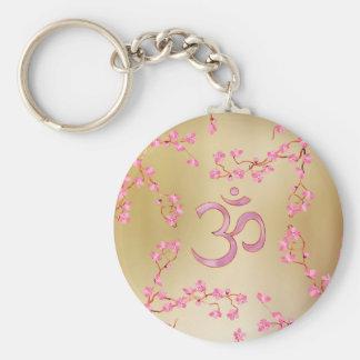 Porte-clés Symbole d'OM avec l'arbre doux de fleur de rose en