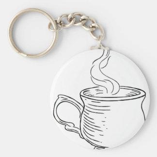 Porte-clés Tasse style gravé à l'eau-forte vintage de thé ou
