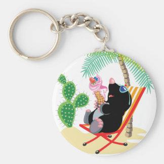 Porte-clés taupe sur la plage