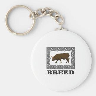 Porte-clés taureau encadré de race