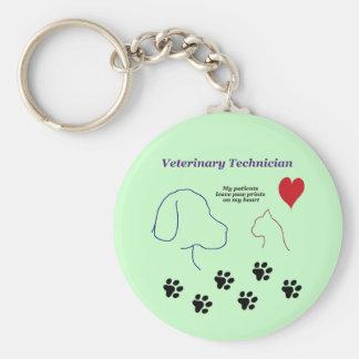 Porte-clés Technicien vétérinaire - empreintes de pattes sur