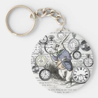 Porte-clés Temps blanc d'Alice de lapin