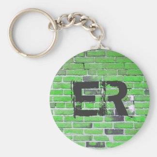 Porte-clés Texture vintage verte décorée d'un monogramme de