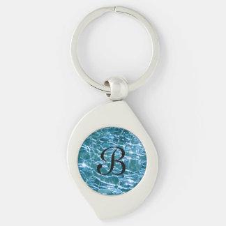 Porte-clés Topaze en verre crépitée de bleu de décembre de