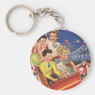 Porte-clés Tour vintage de montagnes russes de chien de