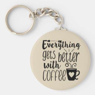 Porte-clés Tout obtient meilleur avec le porte - clé de café